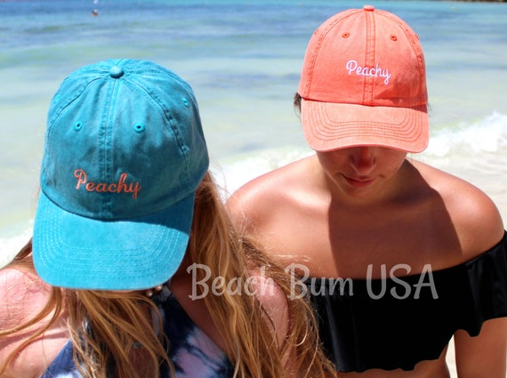 Peachy Baseball Cap Pigment Dyed Low Profile Hat Beach Bum USA  34225f50bac4
