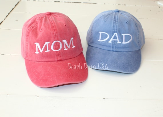 Set of 2 Hats MOM and DAD Caps Distressed Monogrammed Hat  2cb6151ae98a