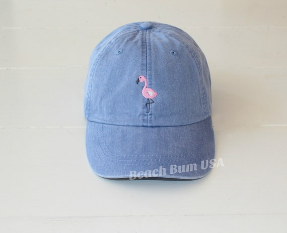 Pink Flamingo Embroidered Hat Periwinkle Adams Cap  c0340dd5c3f8