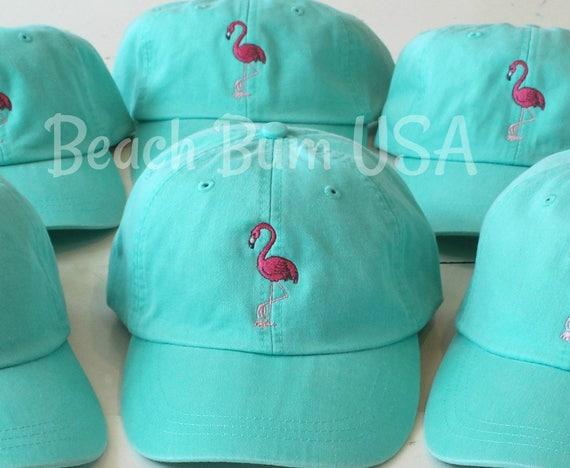 Pink Flamingo Monogrammed Hat Custom Embroidery Bachelorette  8136aea996a5