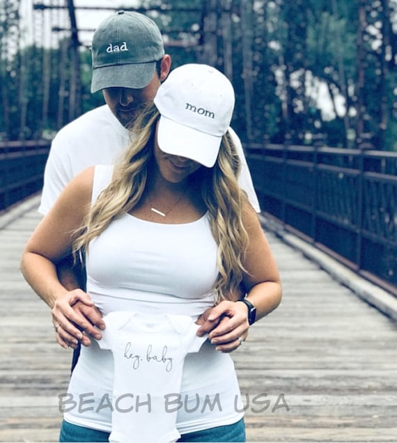 Pregnancy Announcement Hats mom and dad Hats Baby  381cfa614dac