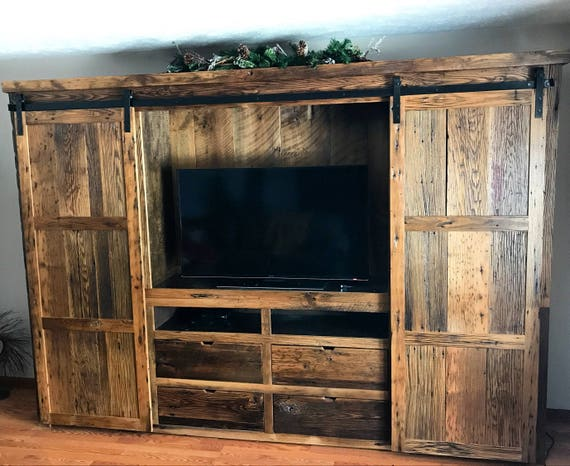 Reclaimed Chestnut Barn Door Entertainment Center Etsy