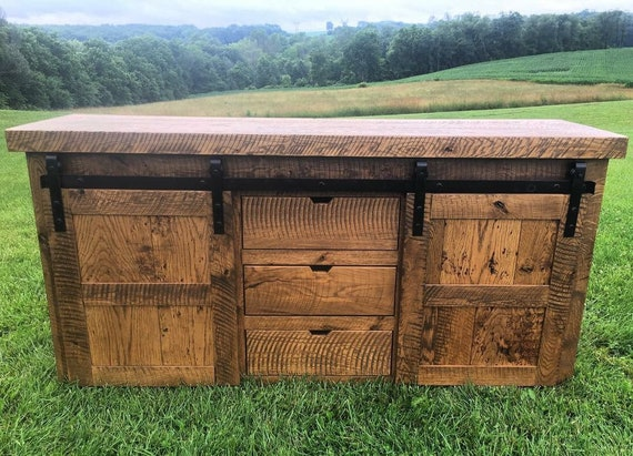 Oak Barn Door Console Ready To Ship Etsy