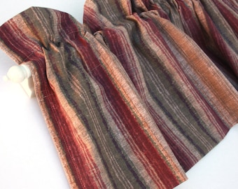 PROMINENT Valance Curtains Brown Red Stripes 43 inches wide Kitchen Curtains Window Treatments Curtains Eva Clements Elegant Regal