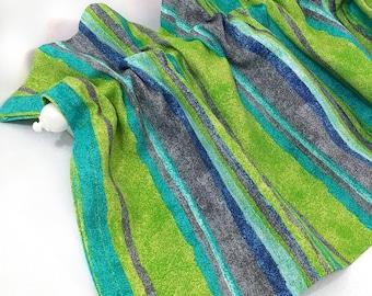 """LYNN Valance Kitchen Curtains Blue Green Aqua Gray Stripes 43"""" Kitchen Valance Curtains Kitchen Window Valances Spring Summer Bright"""