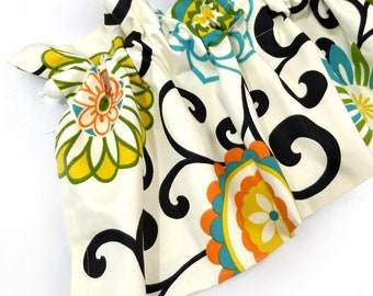 POM POM Valance Curtains Cream Flowers 55 inches wide Orange Yellow Green Filigree Leaves Kitchen Curtains Black