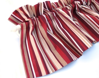 RED Valance Curtain Red And Cream Stripes 43 Kitchen Curtains Window Valances