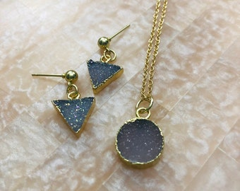 The Betty Jewelry Set in Dainty Druzy Earrings and Necklace Set