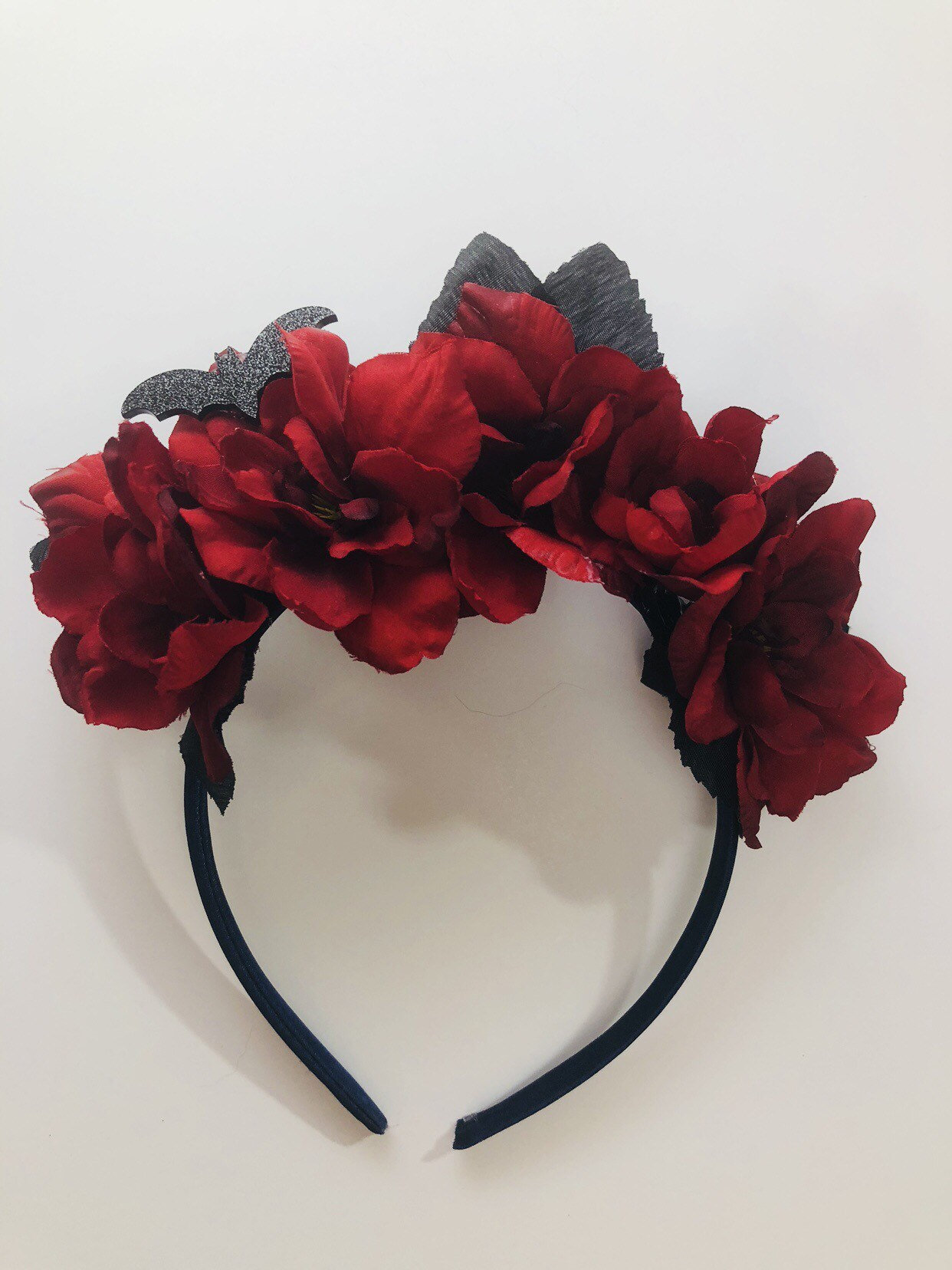 Red And Black Flower Crown Headband With Bat Detail Etsy
