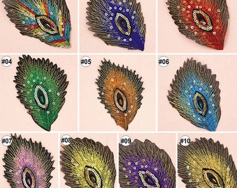 10pcs Southwest Native American Indian Prosperity Feather Iron On Sew On Cloth Embroidered Patches Appliques Machine Embroidery Needlecraft Sewing Projects
