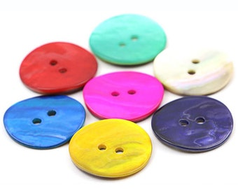 Mixed Acrylic 16mm Round 2-Holed Sew On Buttons HA09495 Packet 50