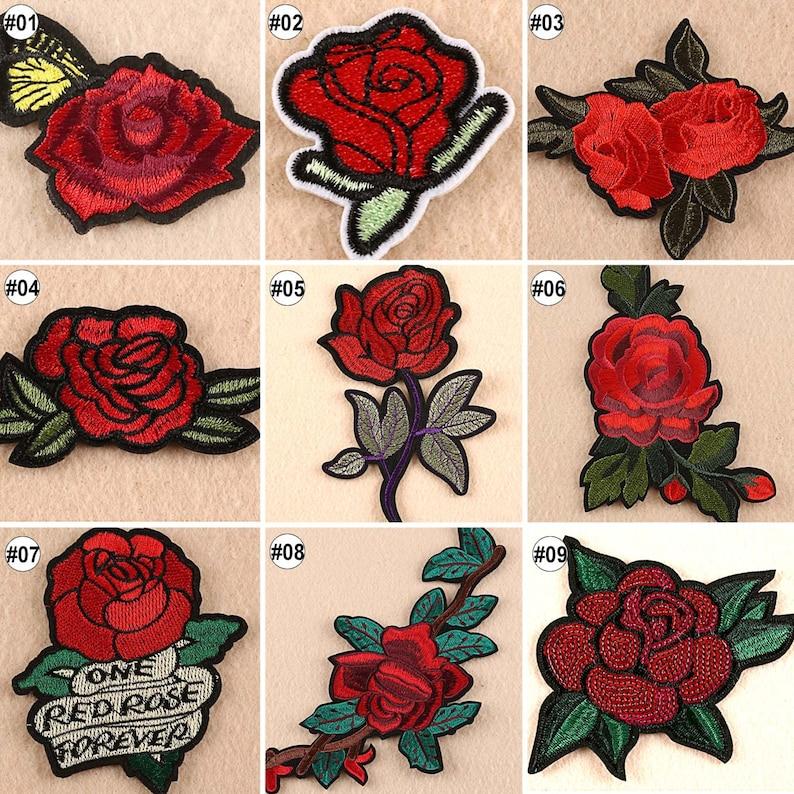 094eec7f9b03a 1 10szt haftowane żelazo na plastry czerwona róża transfer