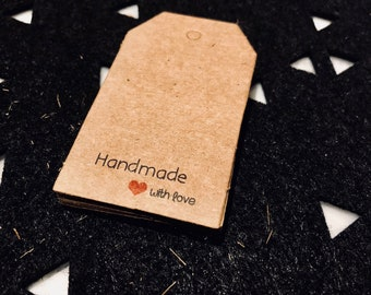 Kraft Paper Made with Love Gift Tags - 4cm x 7cm - Manila Tags - set of 20