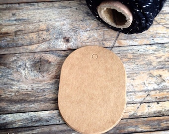 Kraft Paper Gift Tags - 4cm x 5.5cm - Oval Shape Tags - Blank Both Sides - set of 25