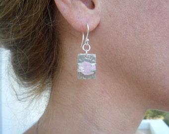 Sterling Silver earrings, Rough Gemstone  Earrings, Rough Rose Quartz  Earrings, Organic  Earrings, Metalwork, Rough gemstone,Pink gemstone.