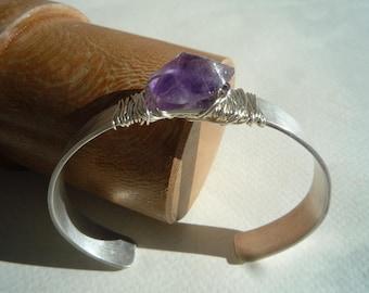 Cuff bracelet, Rough raw wire wrapped  Amethyst cuff bracelet,  Sterling silver cuff bracelet, Gemstone cuff bracelet,Chic bracelet,