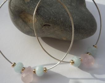 Hoop earrings, Sterling silver hoop earrings, Gemstone dangle  hoop earrings, Rose Quartz gemstone earrings, Aquamarine gemstone earrings,