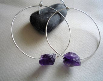 Hoop earrings, Sterling silver hoop earrings,Amethyst gemstone hoop earrings, Large hoop earrings, Rough raw Amethyst gemstone,Chic earrings