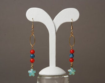 Coral and Apatite earrings with Swarovski crystal flower.