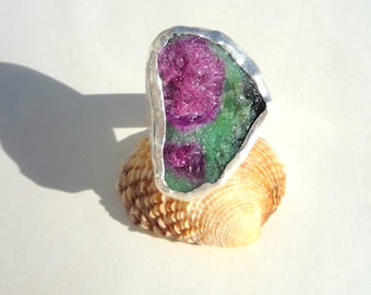 Gemstone Ring, Ruby Zoisite Gemstone Ring, Rough Raw Gemstone Ring, Sterling Silver Ring,Unique Gemstone Ring, Unique Ring, Statement Ring