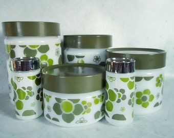 Anchor Hocking Pop Art Glass Canister Set - Retro Glass Canisters - Retro Kitchen Canisters - Glass Retro Canisters