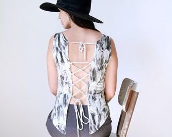 SALE Open back top, Backless top, Bohemian Top, Boho Blouse, Open back tank, Festival Clothing