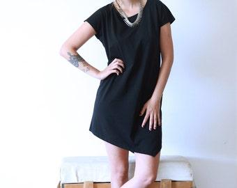 Black T shirt Dress, Asymmetrical Dress, Loose Dress, Open Back Dress, Summer Dress, Long Tunic Dress, Indie Fashion