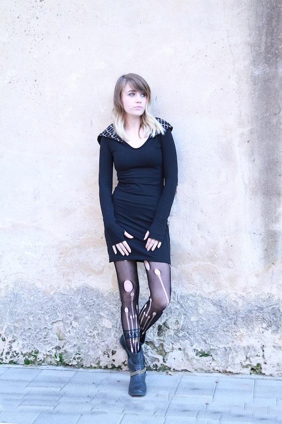 Schwarz mit Kapuze Kleid, Gothic Kleid, Hoodie Kleid, Winter, lange Ärmel Kleid