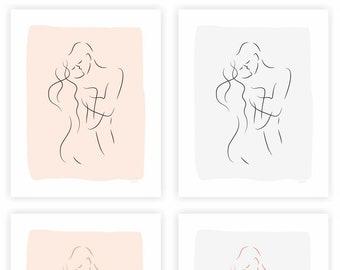 Kiss art PRINT. Warm pink and gray color options. Romantic art for bedroom.