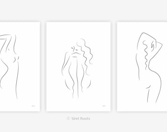 Three nudes set for bedroom. Giclee art prints. Black and white line drawing - woman sketches.