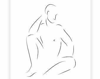 Minimalist male nude art print. Black and white line drawing. Man sitting.