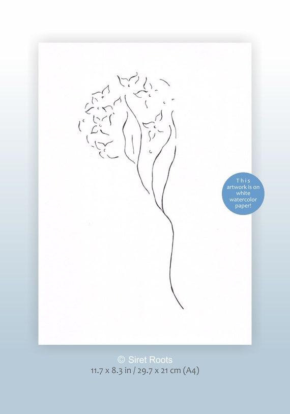 Dessin A Lencre Originale Art De La Ligne De Hortensia Etsy