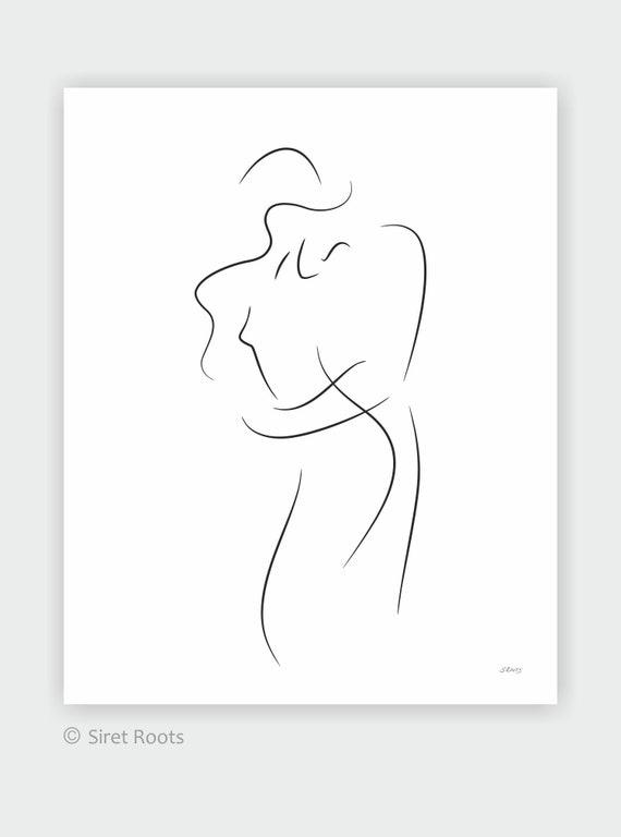 Sexy Amoureux De Limpression Dart Dessin Romantique De Couples Art Pour Chambre à Coucher Embrassez Lart Mural Illustration Minimaliste
