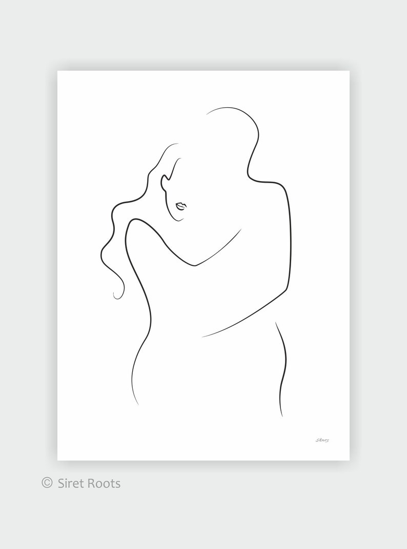 Minimalist Line Art Romantic Couple Drawing Love Etsy