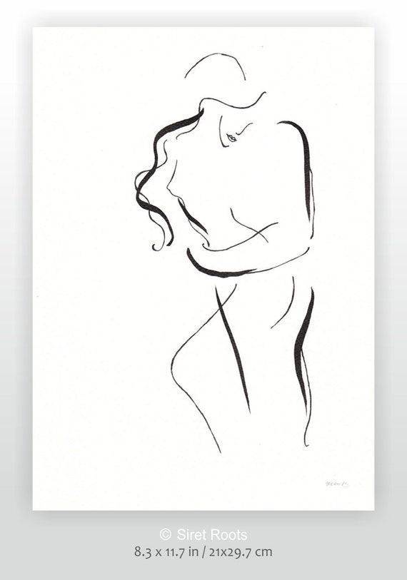 Sexy Lovers Sketch Black And White Erotic Line Art Abstract Couple Illustration