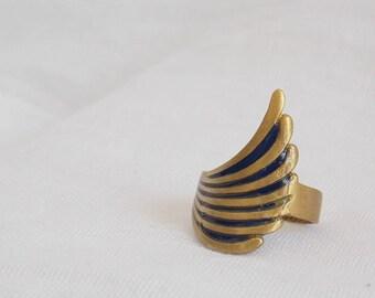 Polymer Clay Ring, Trird Eye Chakra Ring, Brass Ring, Cut Out Brass Ring, Tribal Brass Ring, Geometric Ring, Statement Ring, Large Ring