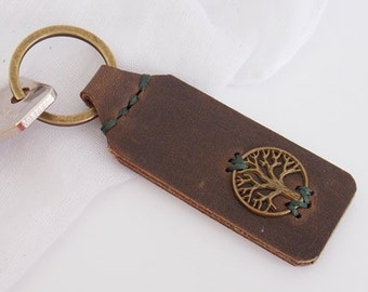 3rd Anniversary Leather Keychain, Leather Anniversary Keychain, Celtic Leather Keychain, Tree Of Life Leather Key-Chain, Nordic Key-Chain