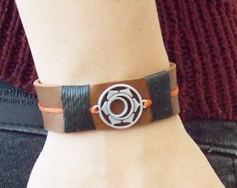 Sacral Chakra Bracelet, Leather Bracelet, Svadhisthana Chakra Bracelet, Yoga Bracelet, Yoga Teacher Gift, Positive Energy Gift, Zen Bracelet