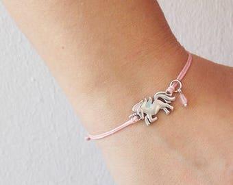 Unicorn Bracelet, Dainty Unicorn Bracelet, Unicorn Wish Bracelet, Rainbow Unicorn Bracelet, Personalized Charm Bracelet, Birthstone Bracelet