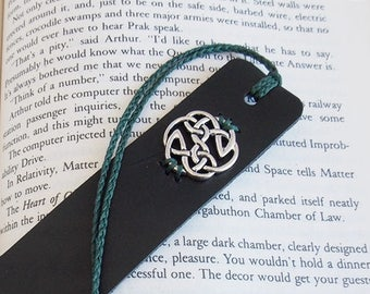 Celtic Bookmark, Shield Of Destiny Bookmark, Irish Leather Bookmark, Viking Norse Accessories, Pagan Bookmark, Leather Anniversary Gift