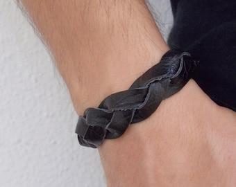 Men's Braided Cuff, Celtic Braid Cuff, Braided Leather Bracelet, Celtic Leather Bracelet, Black Leather Wristband, Men's Leather Bracelet