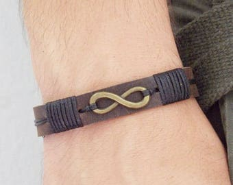 Men's Leather Bracelet, Infinity Leather Bracelet, Infinity 3rd Anniversary Bracelet, Leather Eternity Bracelet, Men's Leather Bracelet Cuff