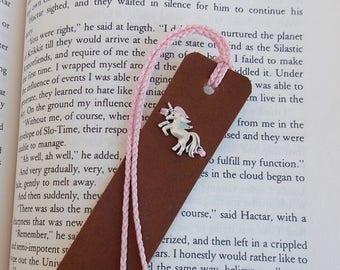Unicorn Leather Bookmark, Fantasy Leather Bookmark, Unicorn Bookmark, Magical Bookmark, Personalized Bookmark, Custom Initial Bookmark