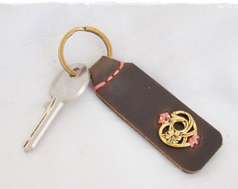 Floral Heart Keychain, Leather Woodland Key-Chain, Nature Key-Chain, Rustic Leather Key Ring, Calla Lily Key Fob, Women's Leather Keychain