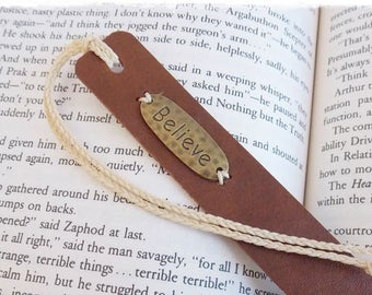 Personalized Leather Bookmark, Custom Leather Bookmar, Bookworm Gift, Inspirational Bookmark, Believe Bookmark, Initial Graduation Gift