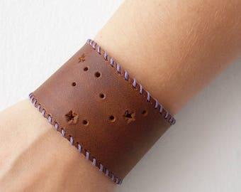 Constellation Bracelet, Men's Leather Cuff Bracelet, Zodiac Bracelet, Zodiac Leather Bracelet, Capricorn Bracelet, Horoscope Bracelet Cuff