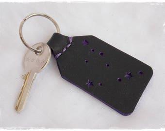 Capricorn Leather Keychain, Zodiac Constellation Keychain, Celestial Keychain, Constellation accessories, Personalized Gift, Birthday Gift