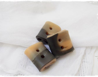 Small Square Buttons, Charcoal Toggle Buttons, Handmade Buttons, Rectangular Buttons, Beige Folded Buttons, Artistic Buttons, Small Buttons