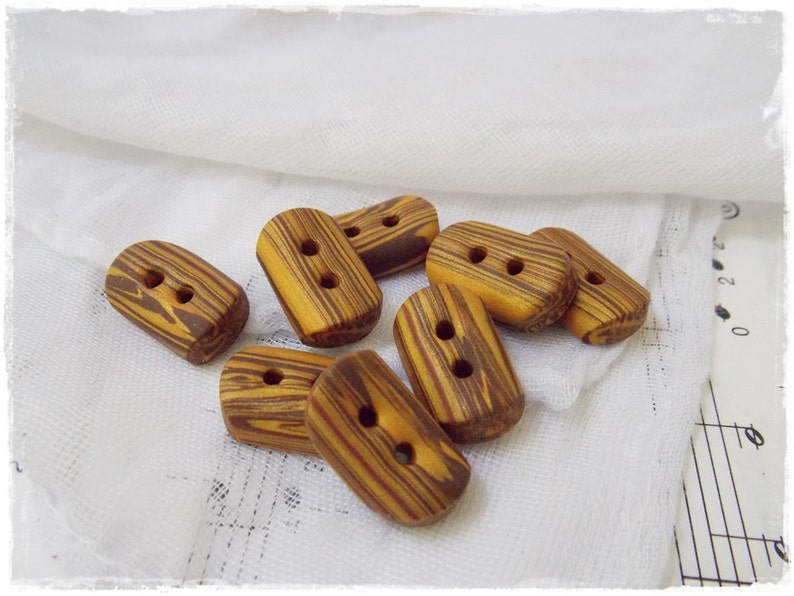 Polymer Clay Buttons Gold Brown Toggle Buttons Small Striped Buttons