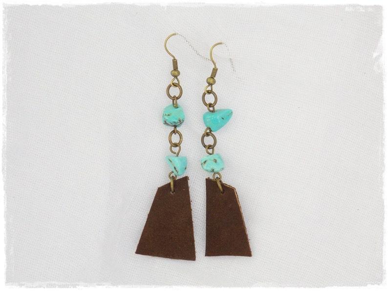Turquoise Leather Earrings Long Chain Earrings Tribal Talisman Earrings Bohemian Earrings Boho Leather Jewelry Long Arrow Earrings